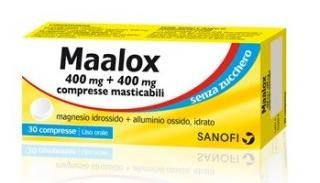 Maalox Senza Zucchero Bruciore e Iperacidità 30 Compresse masticabili 400+400mg