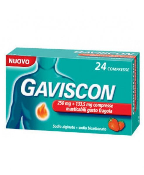 Gaviscon 24 Compresse Gusto Fragola 250+133.5mg