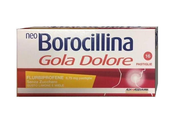 Neo Borocillina  Gola Dolore 8,75 mg Limone Miele Senza Zucchero 16 Pastiglie