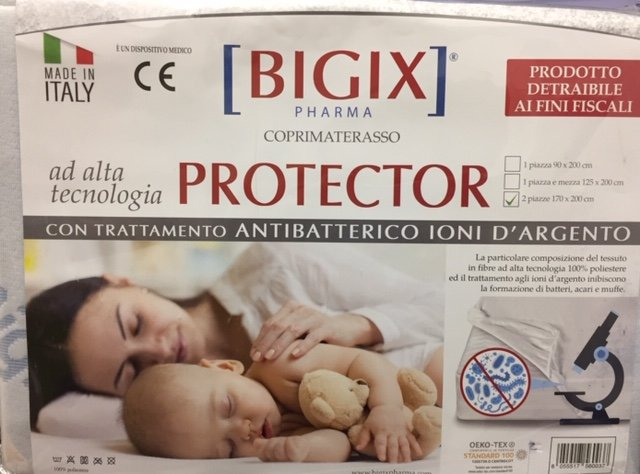 COPRIMATERASSO PROTECTOR 2 PIAZZE 170 X 200 cm made in Italy