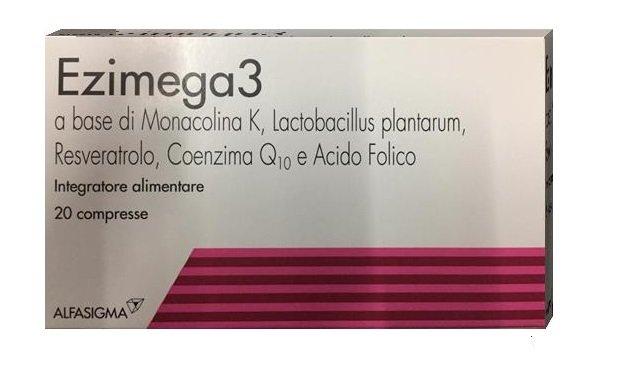 Ezimega3 a base di Monacolina k, Lactobacillus plantarum, Resveratrolo, Coenxima Q10 e acido Folico