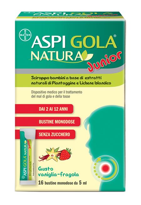 ASPI GOLA NATURA JUNIOR VANIGLIA FRAGOLA 16 BUSTINE MONODOSE DA 5ML