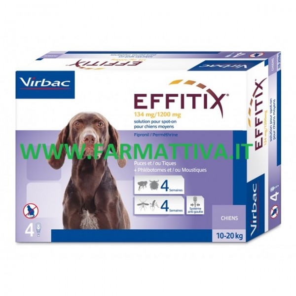 Virbac Effitix soluzione spot on per cani di taglia media 10 - 20 kg