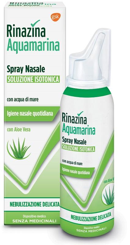 Rinazina Aquamarina Spray Nasale Soluzione Isotonica Con Aloe vera Nebulizzazione Delicata 100ml