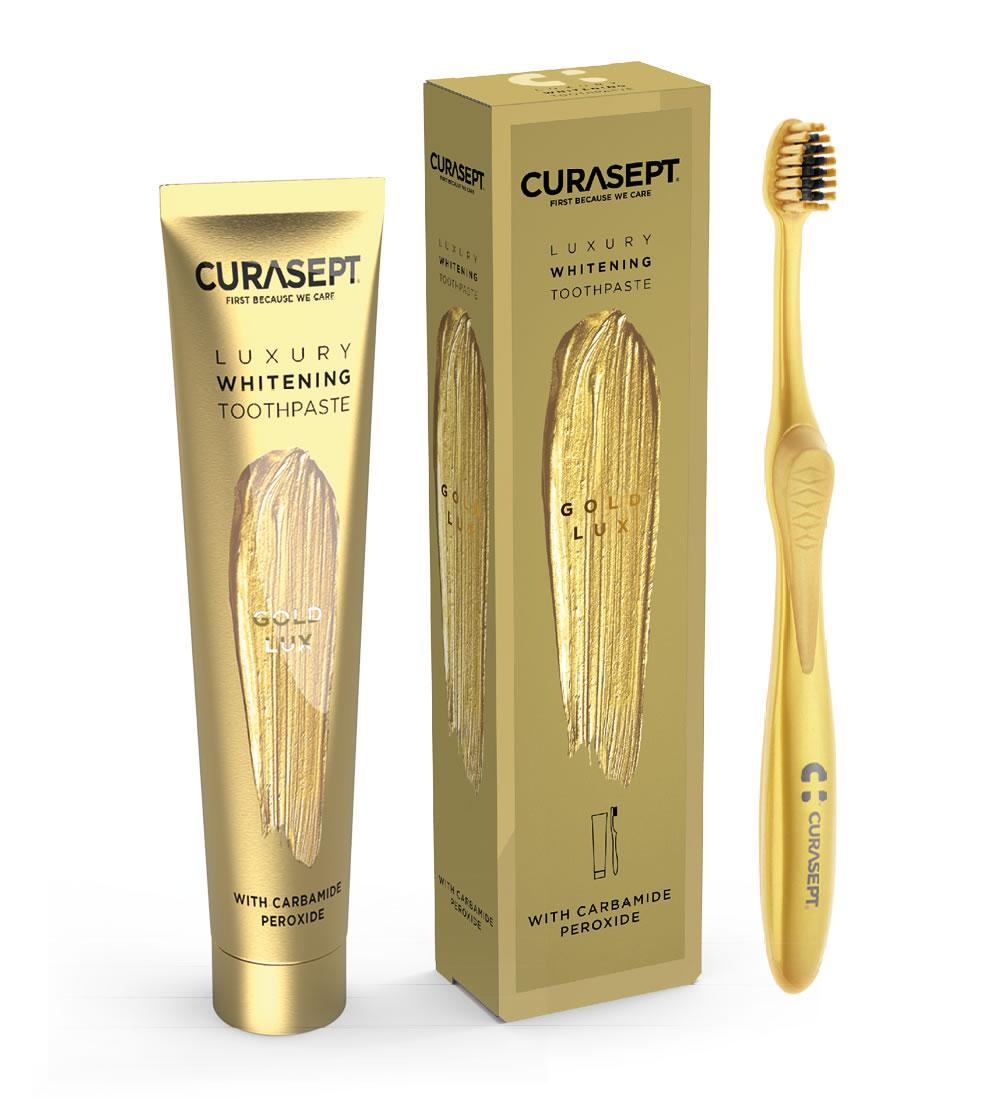 Curasept Gold Lux Gel dentifricio 75 ml e spazzolino sbiancante