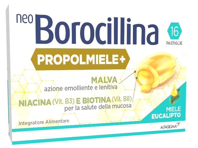 Neoborocillina Popolmiele+ 16 Pastiglie Miele Eucalipto